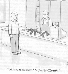 Claritin:gun cartoon